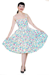 Bernie Dexter Paris Dress in Mascara print retro inspired - Cool Hot Fashions