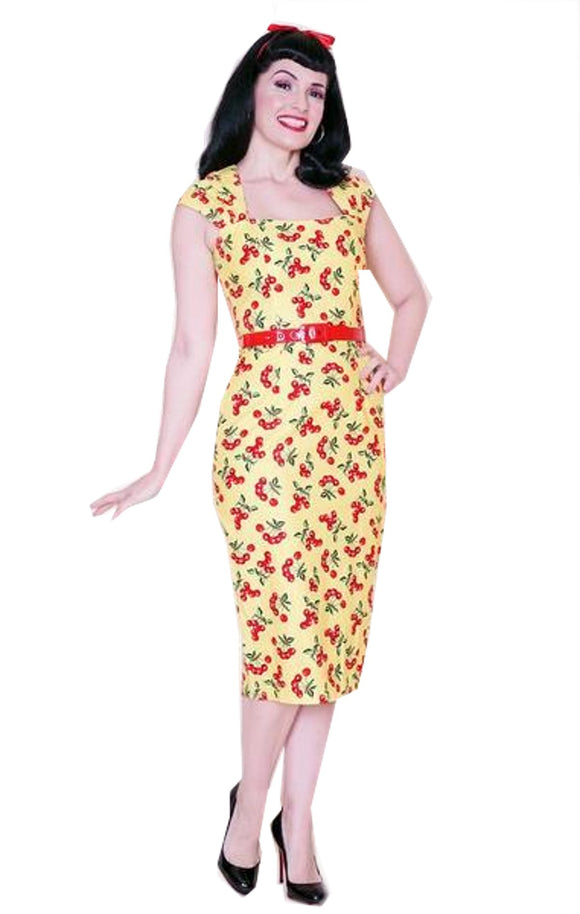 Bernie Dexter Chloe Wiggle Dress Yellow & Red Cherries Retro Inspired - Cool Hot Fashions