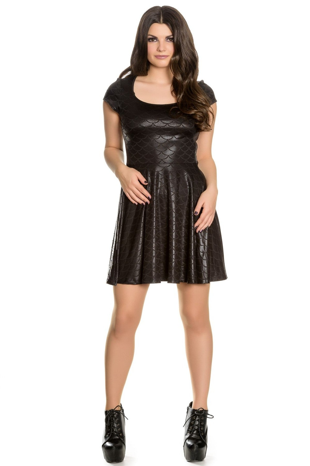 Hell Bunny Neptune Dress Shimmery Black Fish Scale print - Cool Hot Fashions