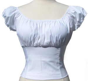 Pure White Fitted Peasant top