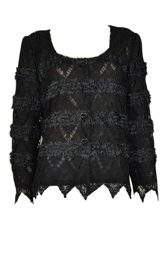 Pretty Angel Black Lace Cardigan Sweater Top Vintage style handkerchief sleeve - Cool Hot Fashions