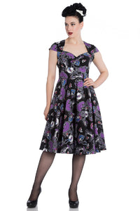 Hell Bunny Graciela 50''s Dress Day Of The Dead skeletons - Cool Hot Fashions