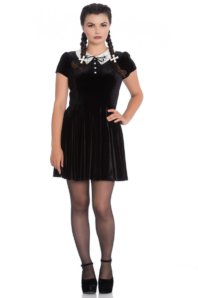 Hell Bunny Miss Muffet Mini Dress Spider Web Embroidery White Collar Punk