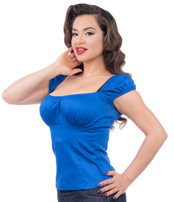 Rock Steady Bonnie Bumpkin Royal Blue Peasant top - Cool Hot Fashions
