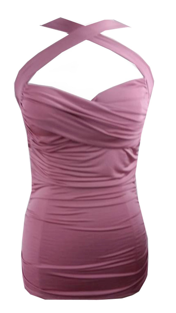 Cool Hot Fashions Criss-Cross Mauve Pink Halter top Body-con Ruched bandage Vintage Retro 50''s