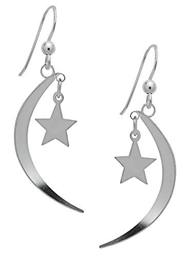 Sterling Silver Moon & Star Dangle Earrings