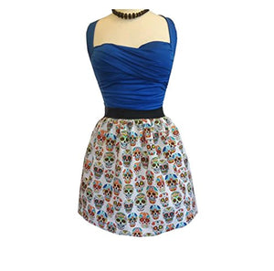 Sugar Skull Skirt Multi-Color White Day of The Dead Retro Pin-up M