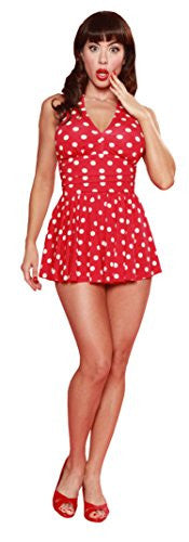 Esther Williams Red & White Polka Dot Skirt one-piece Swim-suit - Cool Hot Fashions