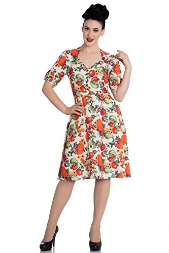 Hell Bunny 50s Retro Harvest Autumn Pumpkin Berries Cocktail Party Flare Dress