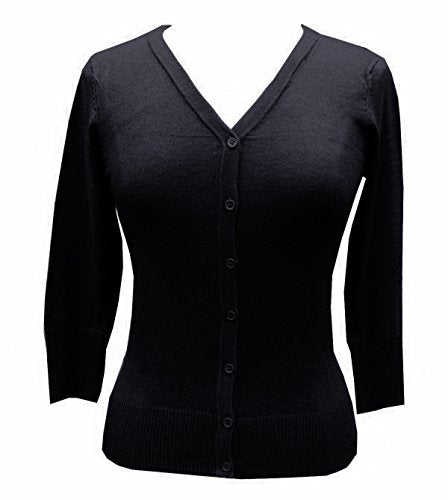 Mak V-neck Cardigan Sweater Top Pinup Retro Rockabilly 50's 40's  Black - Cool Hot Fashions
