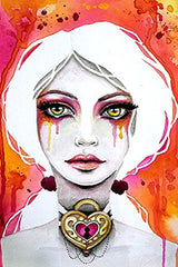The Lock Keeper by Stephanie Zahalka Gothic Watercolor Portrait Fine Art Print - Cool Hot Fashions