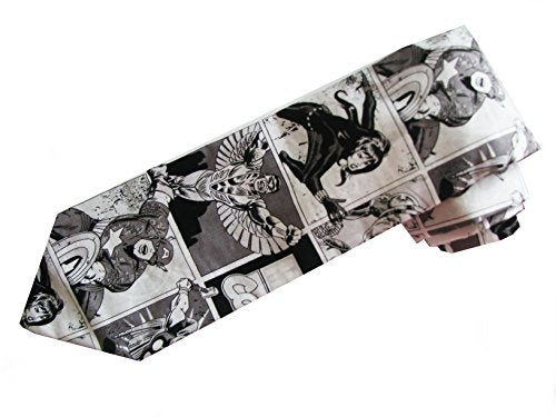 Marvel Comic Stripe cast of Charactors men's Neck-tie Black & White