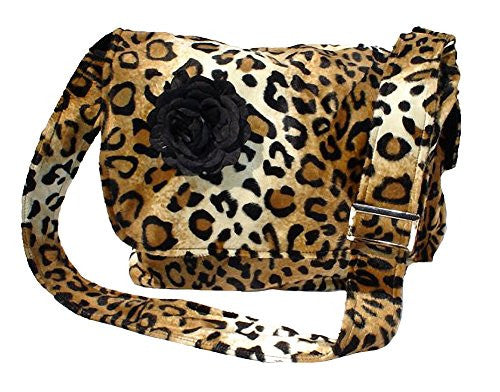 Hemet Rockabilly Faux Leopard Bag with Black Flower