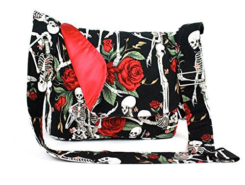 Hemet Skeleton And Roses Messenger Bag Black