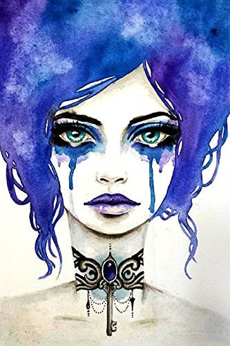 The Key Master by Stephanie Zahalka Gothic Watercolor Portrait Fine Art Print - Cool Hot Fashions