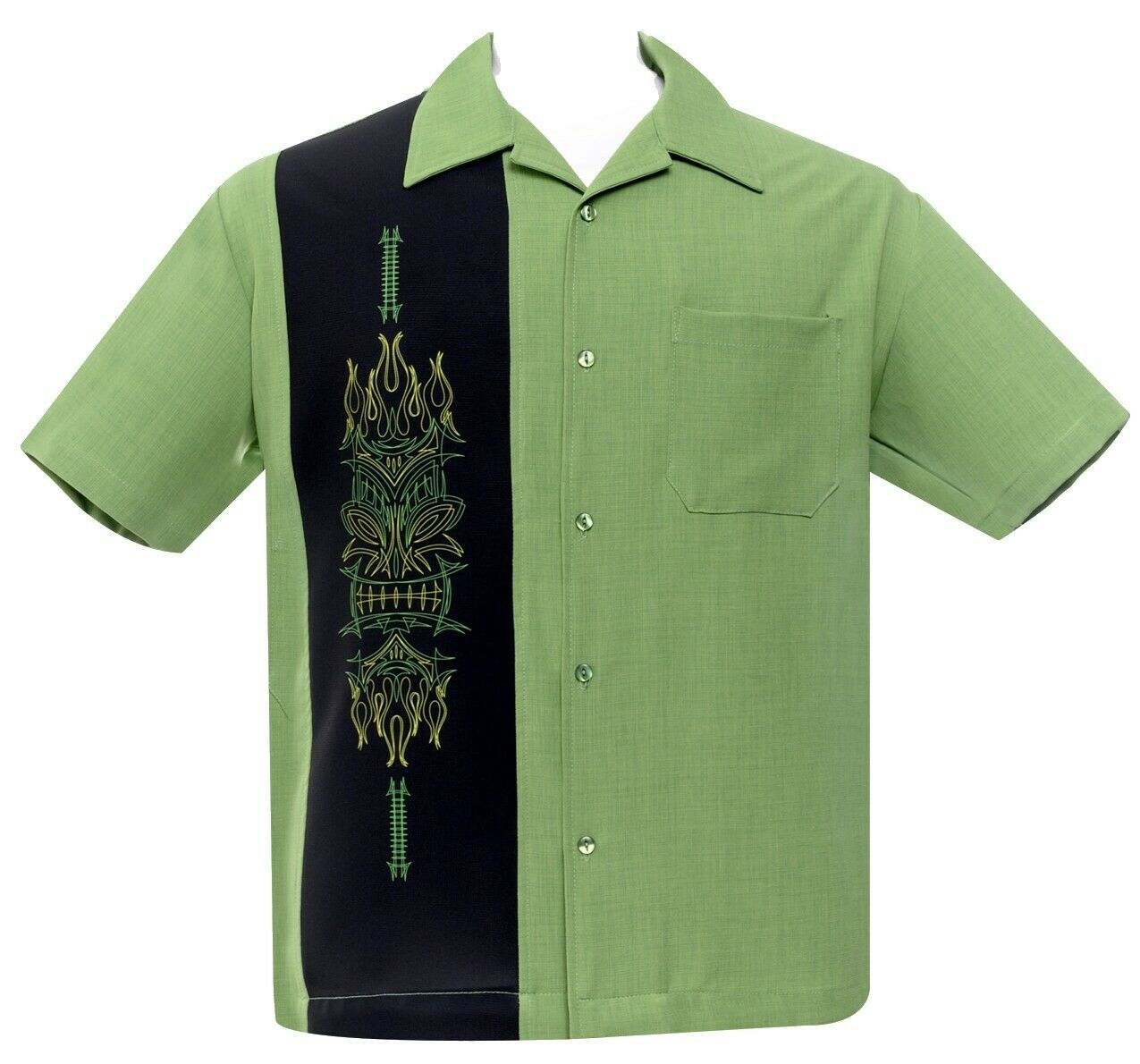 Steady Clothing Pinstripe Tiki Luau Totem Face Pole Apple Green Bowling Shirt