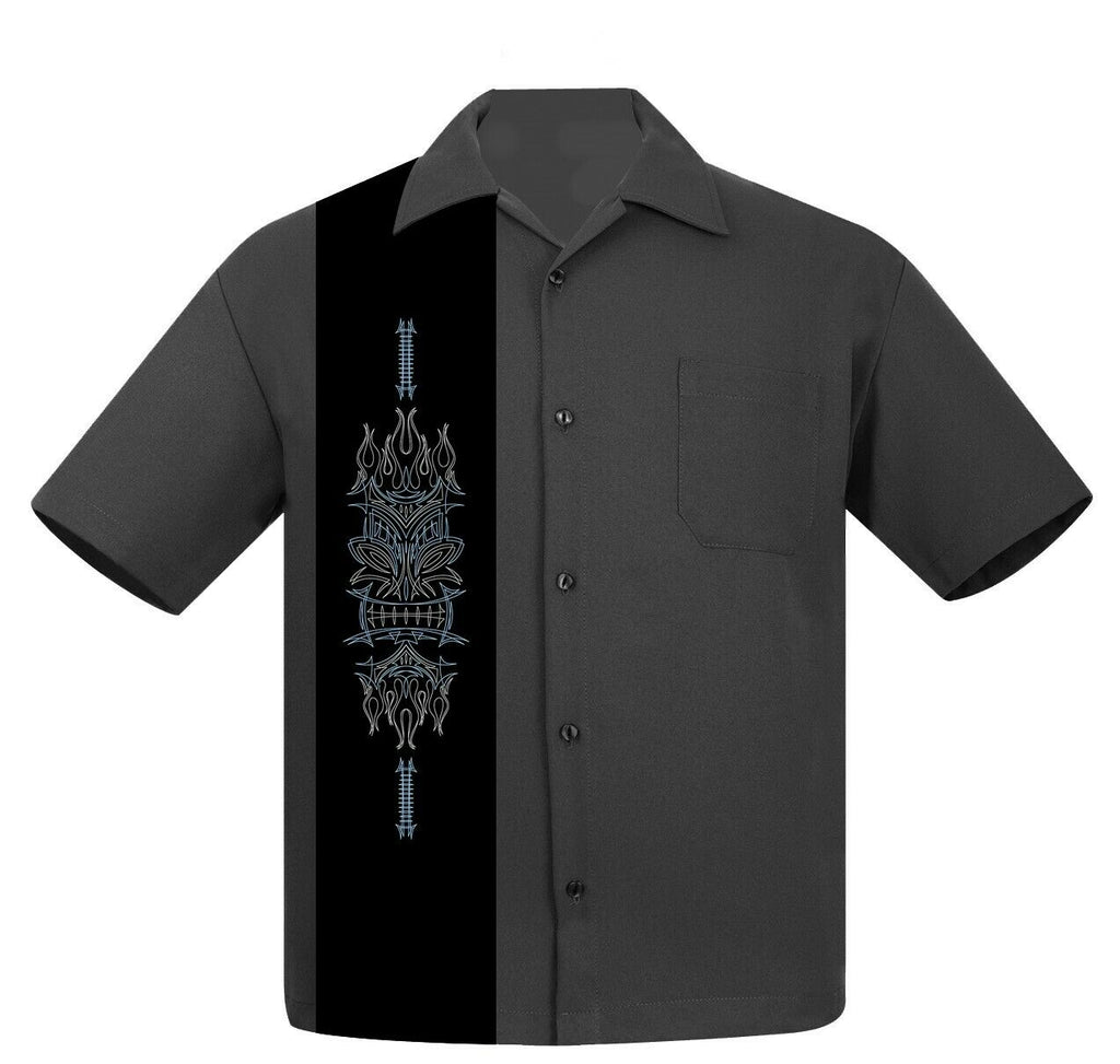 Steady Clothing Pinstripe Tiki Luau Totem Face Pole  Bowling Shirt