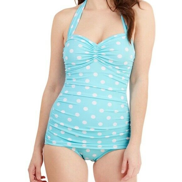 Esther Williams Classic Sheath Mint Green White Polka Dot Swimsuit Plus size 26