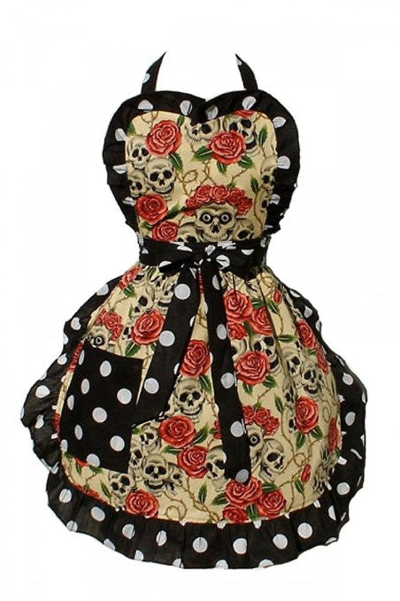 Hemet Skulls and Roses Apron - Cool Hot Fashions