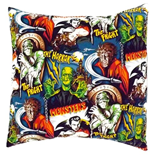 Hemet Monsters Envelope Throw Pillow Cover Horror Movie Monsters Retro 18X18''