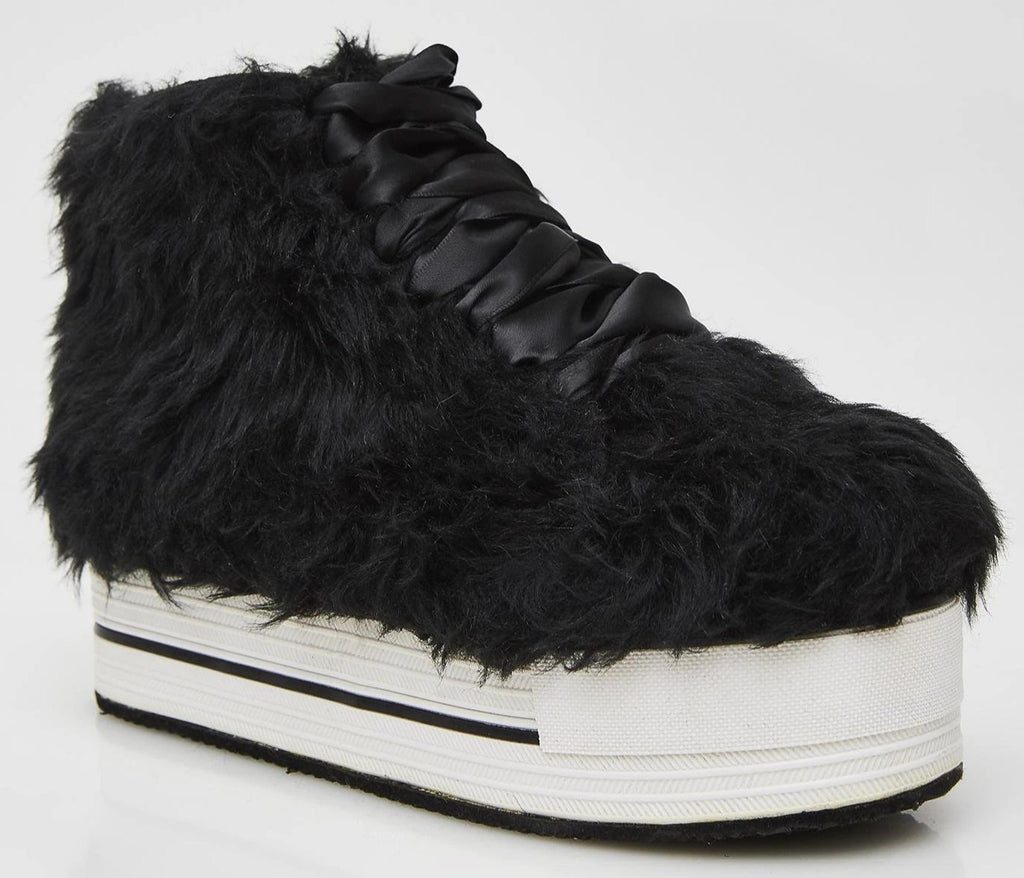Y.R.U. Elevation Black Faux Fur 70's Sneaker Platforms Women's Shoe Size 6 Rave