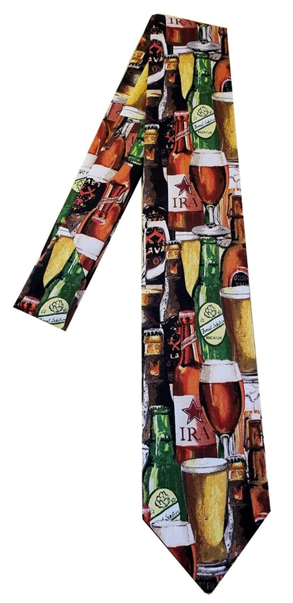 Beer Frothy glass Bottle Brewery Bartender Men's Neck Tie Necktie