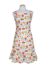 Bernie Dexter Fellini Dress in Sundae Best Print Soda Shoppe Ruffled Hem retro
