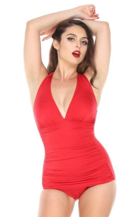 Bettie Page Cherry Bombshell RED Halter Swimsuit Sheath Skirt front Made in the USA
