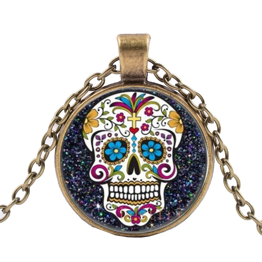 Colorful Sugar Skull Bronze Necklace Calavera Día de los Muertos dearly Departed