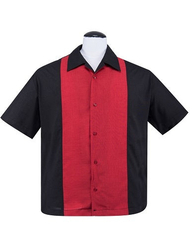 Steady Clothing PopCheck Red Center Panel Button Up Bowling Lounge Shirt