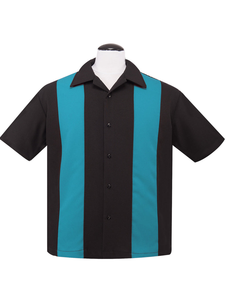 Steady Clothing Poplin Double Panel Button Up in Black Turquoise Blue Bowling Shirt