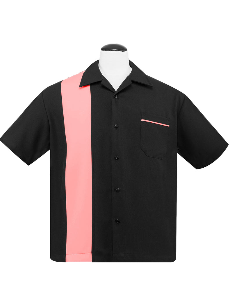 Steady Clothing Poplin Black & Pink Single Panel Pocket Bowling Shirt Lounge Retro 50's