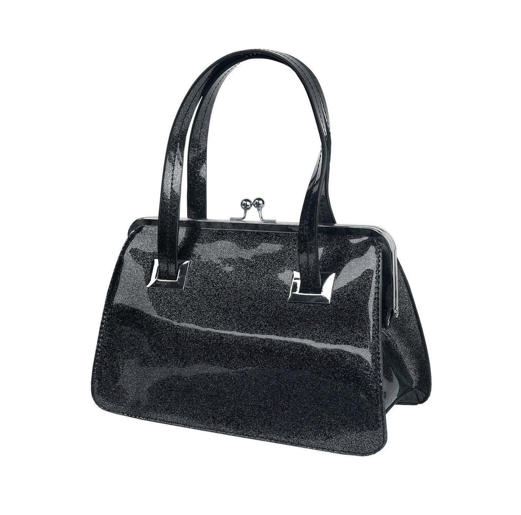 Hell Bunny BLACK Metallic Silver Sparkle Tippi Kiss Lock Purse Handbag top Handle