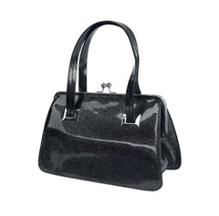Hell Bunny BLACK Metallic Silver Sparkle Tippi Kiss Lock Purse Handbag top Handle - Cool Hot Fashions