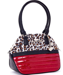 Lux De Ville Dame Tote Sizzle Pink Sparkle/Brown Leopard Dice Baubles - Cool Hot Fashions