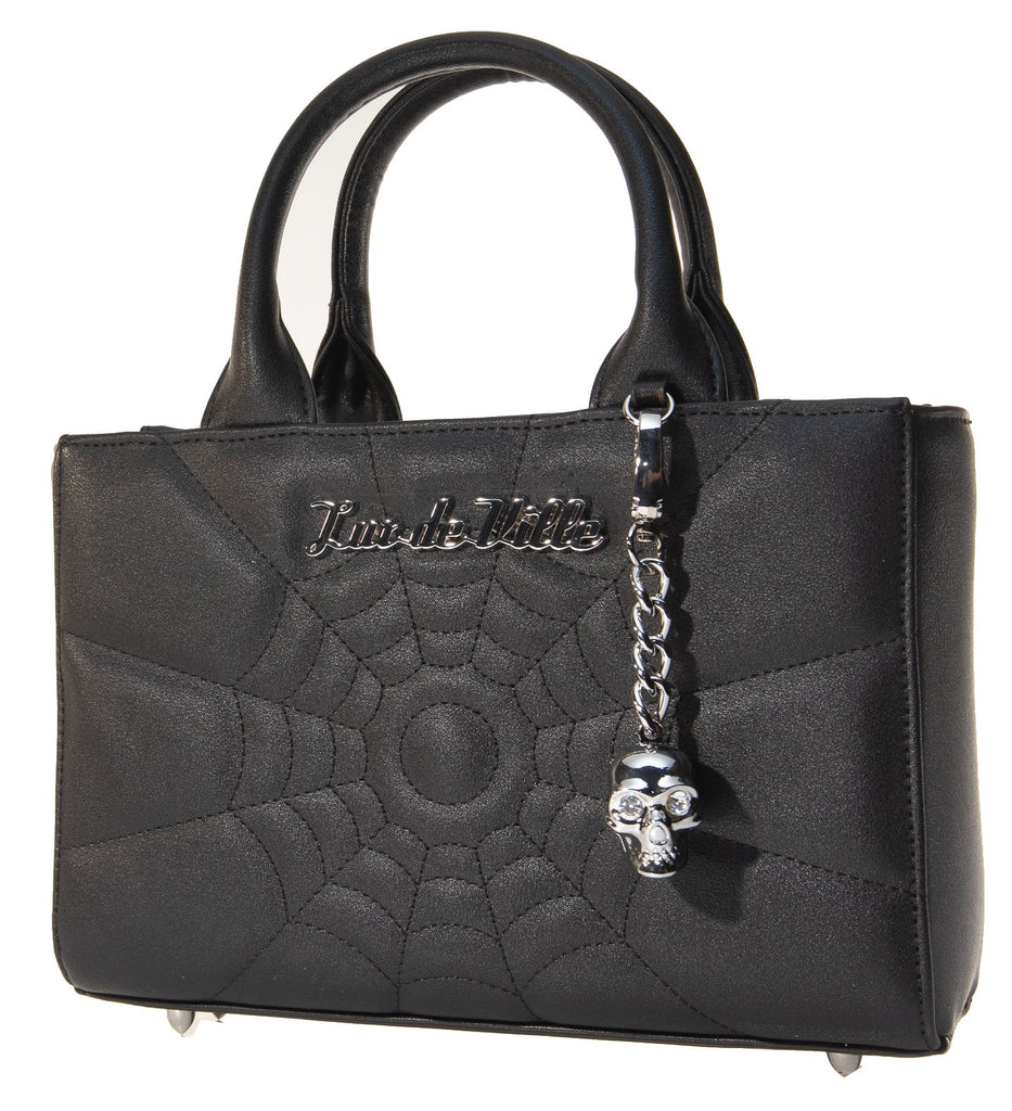 Lux De Ville Spiderweb Stitch Mini Itsy Bitsy Tote Black Matte Purse Skull Bauble