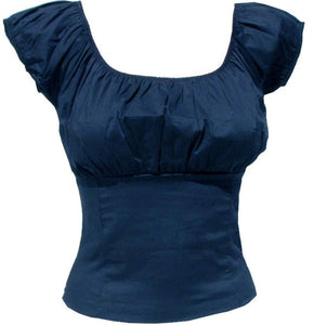 Navy Blue Fitted Smock Peasant Top - Cool Hot Fashions