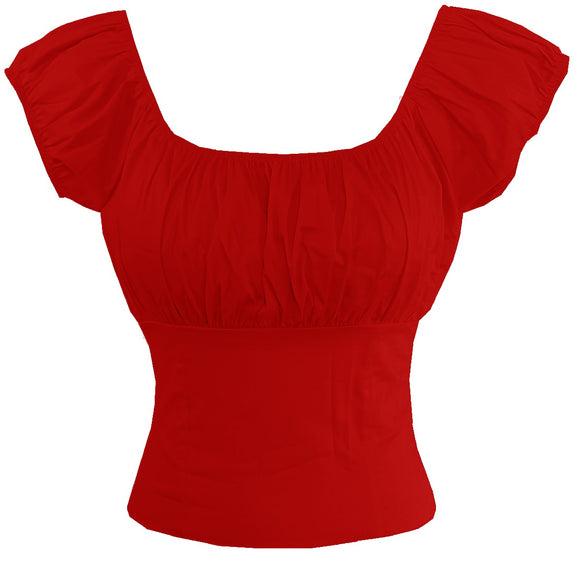 Red Fitted Peasant Top