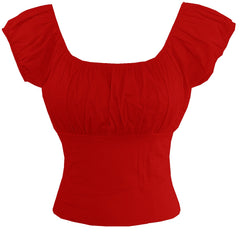 Red Fitted Peasant Top - Cool Hot Fashions