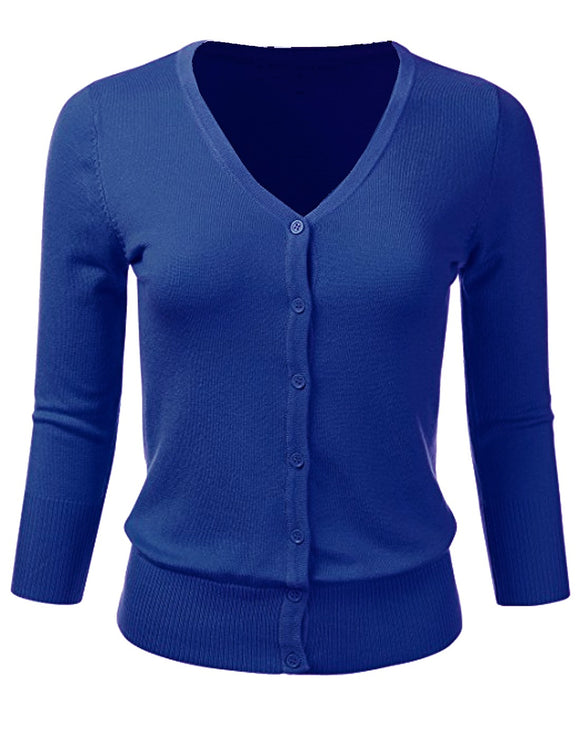 Mak Royal Blue V-neck Cardigan Sweater Top Pinup Retro Rockabilly 50's 40's ROYAL BLUE - Cool Hot Fashions