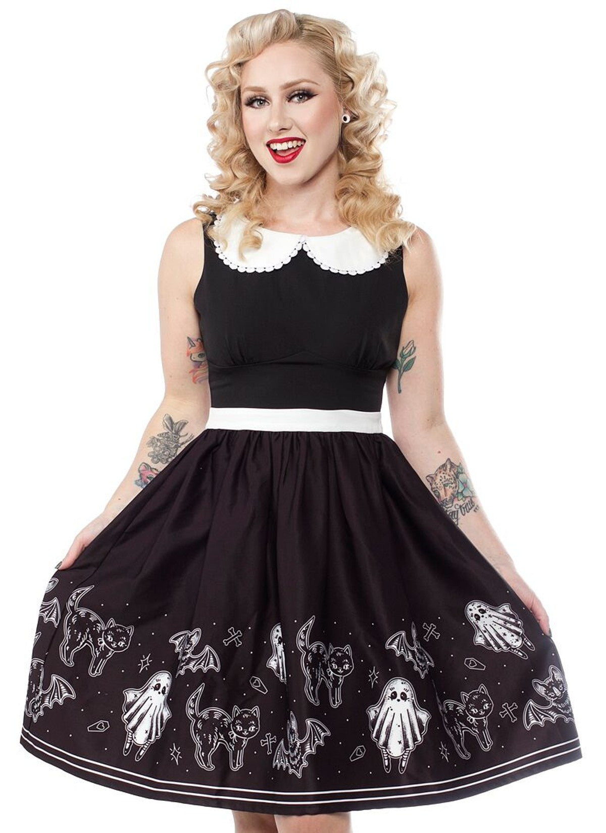 So Cute It's Spooky black White Shift Dress ghost Cats Bats pockets Junior's - Cool Hot Fashions