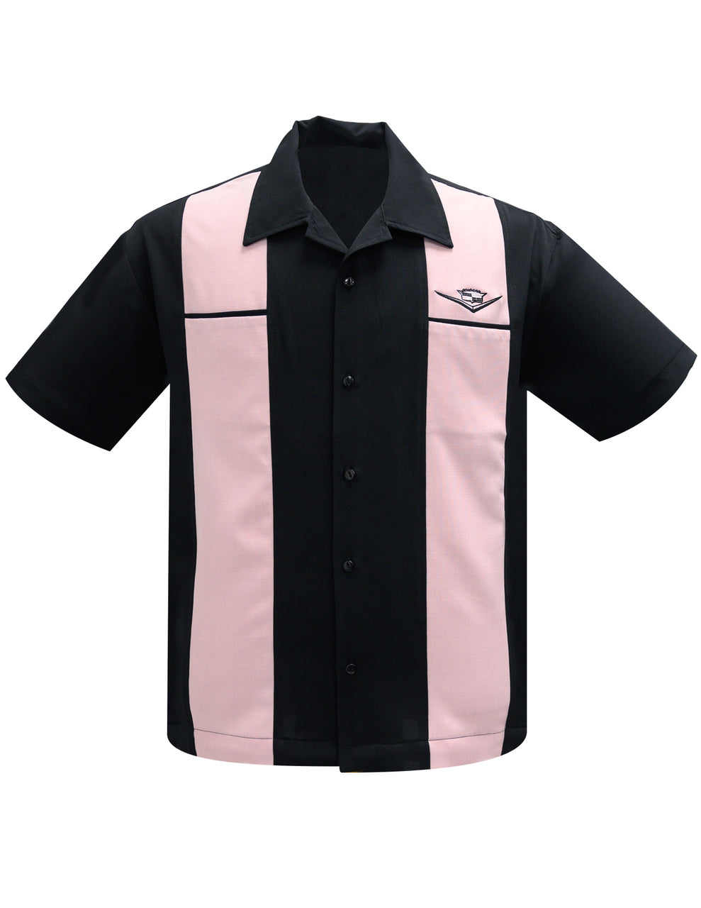 Steady Clothing Classic Cruise Black Pink Panel Cadillac Bowling Lounge Shirt