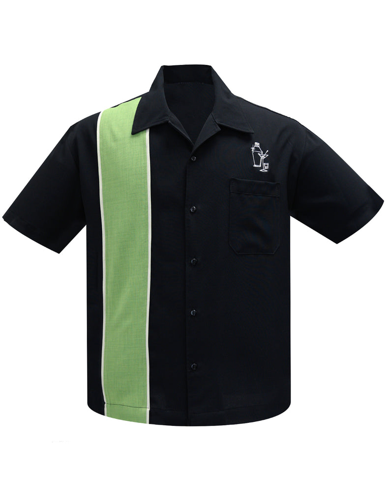 Steady Clothing Palm Springs Apple Green Stone Race Embroidered Bowling Shirt