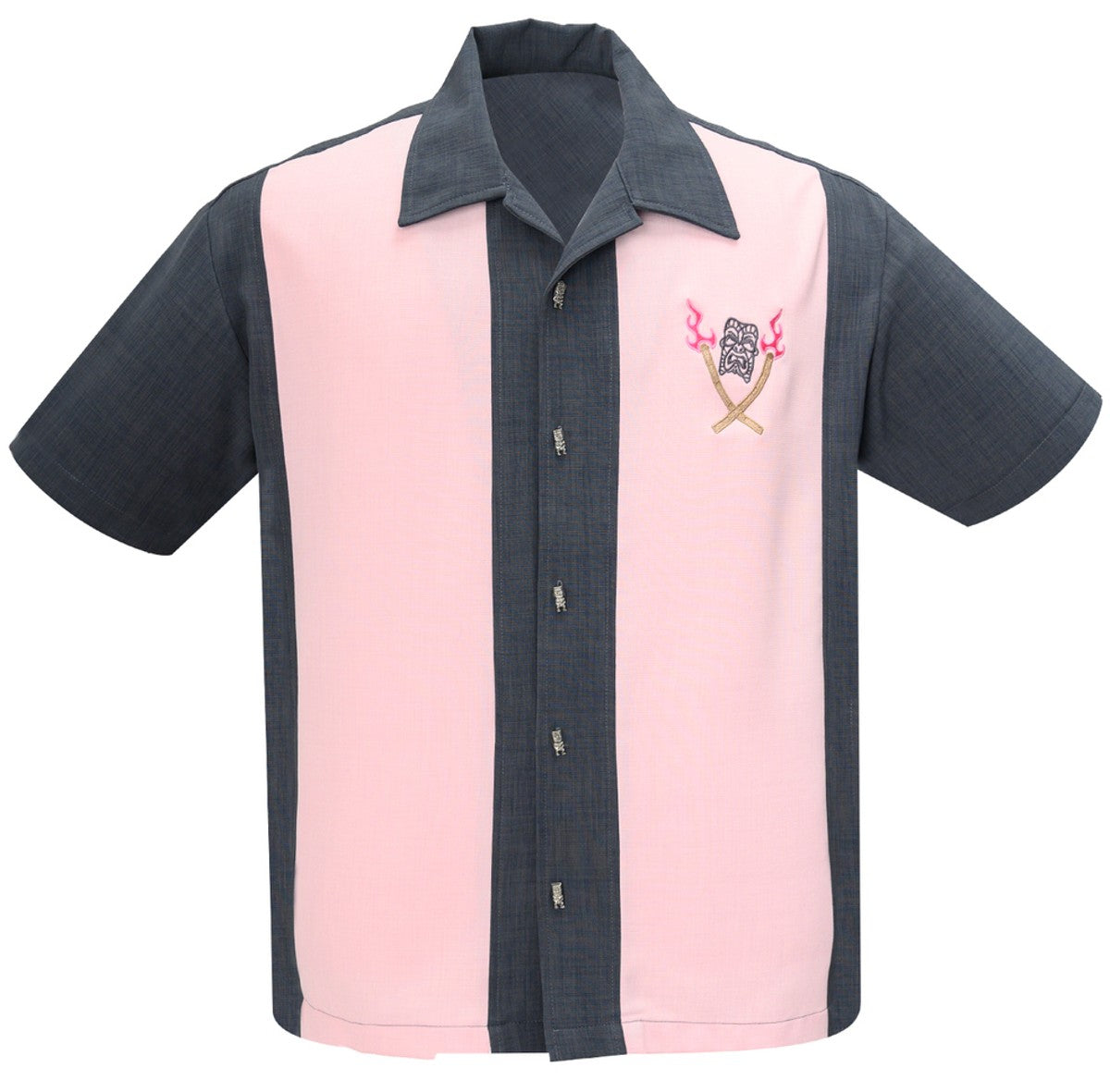 Steady Clothing Tropical Itch Tiki Button Embroidered Grey Pink Bowling Shirt