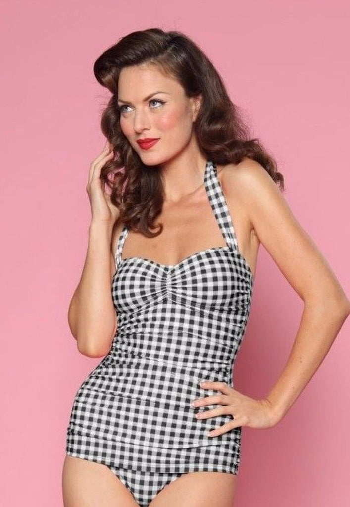 Esther Williams SwimSuit Black White Gingham Plaid Vintage Style 50's 40's Pinup
