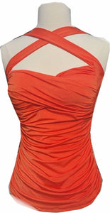 Orange Ruched Halter Top Cross Your Heart pinup style convertable straps - Cool Hot Fashions