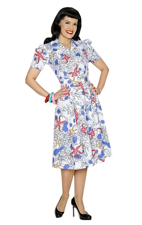 Bernie Dexter Swing Dress in Starfish Print Nautical Retro Inspired