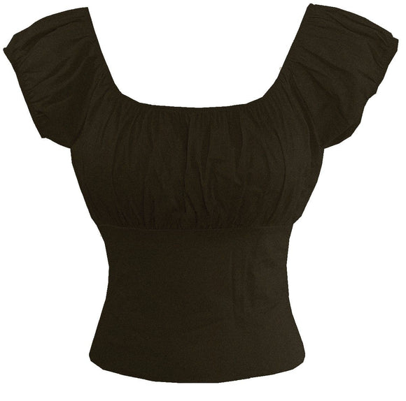 Black Fitted Peasant top - Cool Hot Fashions
