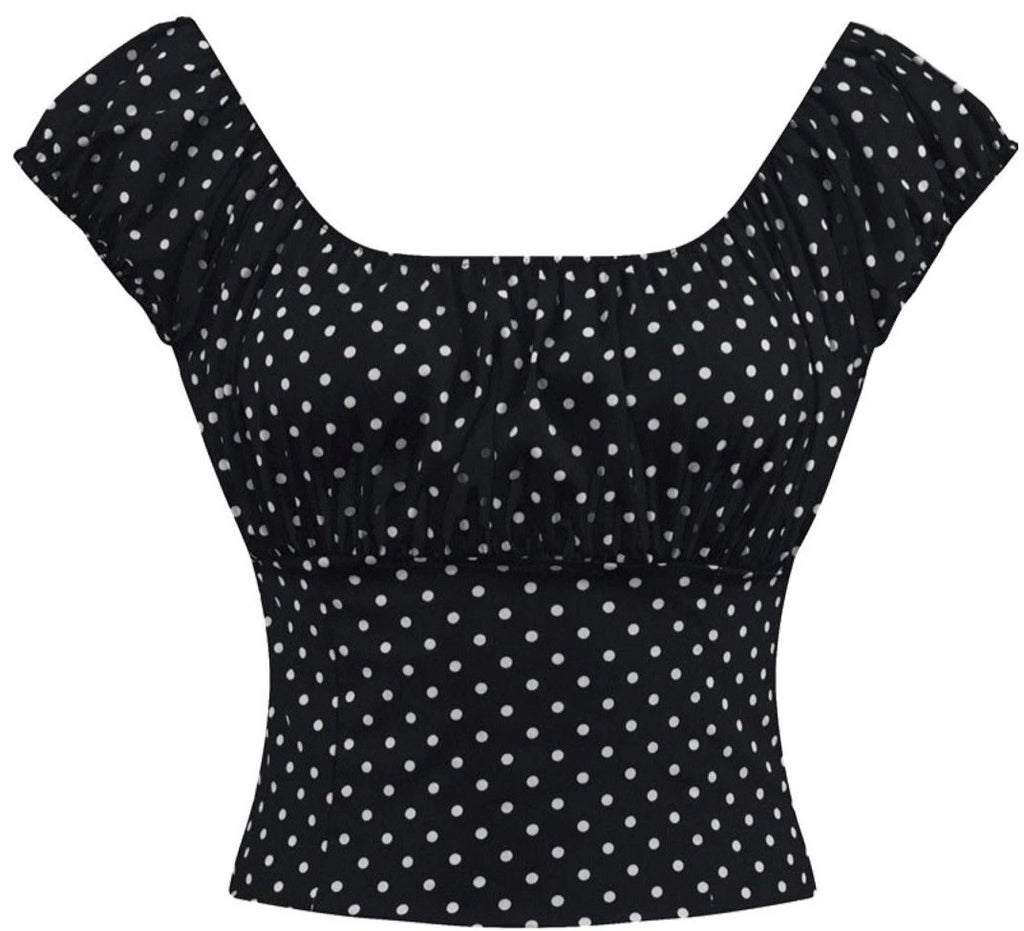 Black Polka dot Fitted Smock Peasant Top