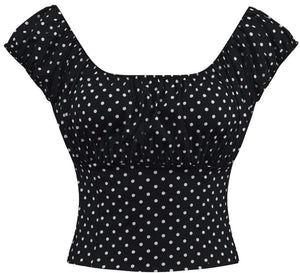 Black Polka dot Fitted Smock Peasant Top - Cool Hot Fashions